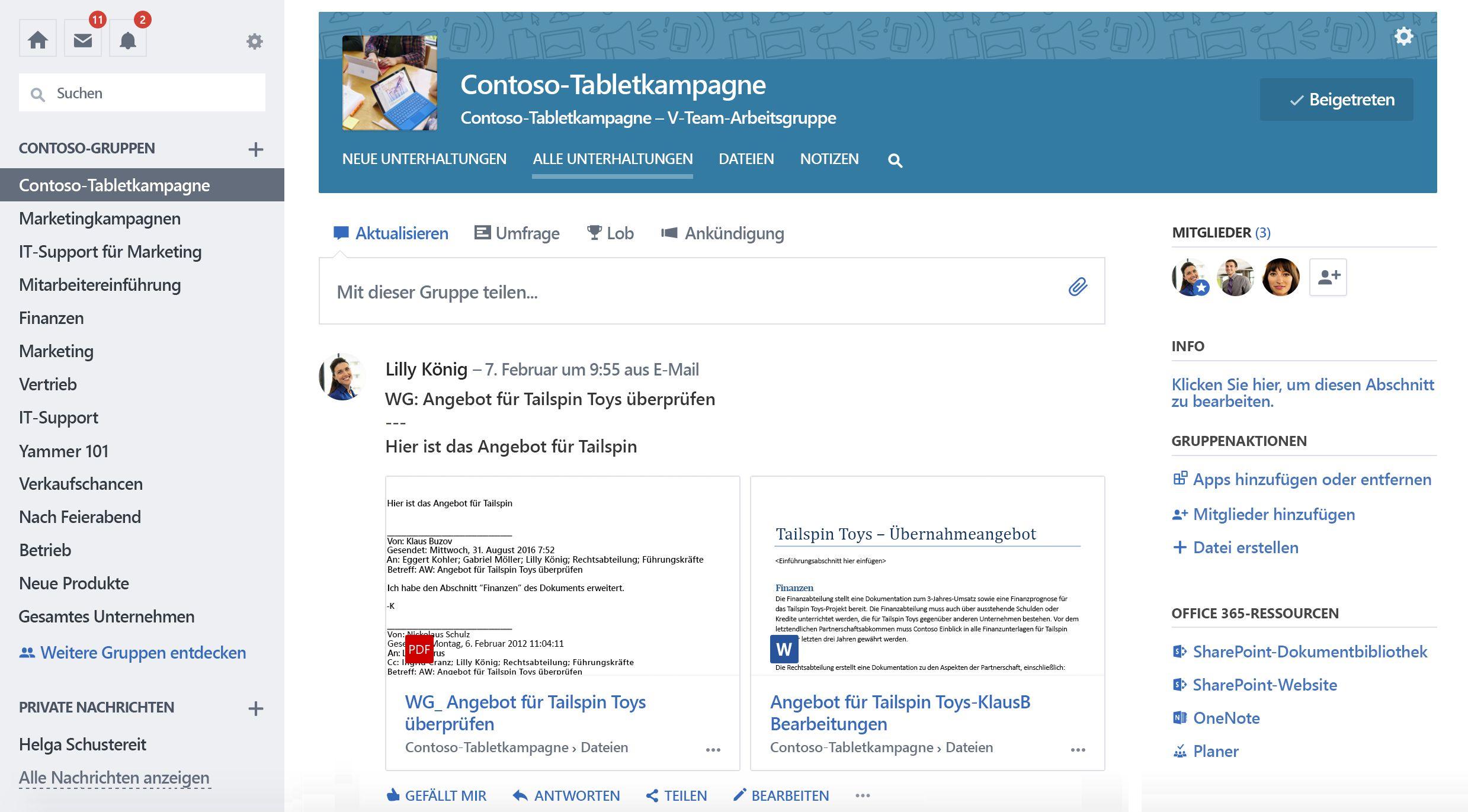 Screenshot der Office 365 verbunden Yammer Gruppe Unterhaltungen