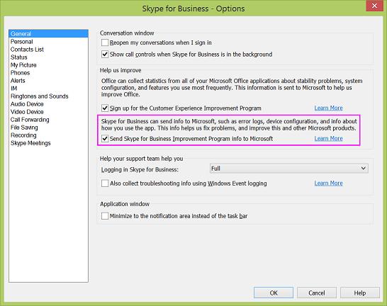 Skype for Business-Kontrollkästchen für die Datensammlung im Dialog Optionen > Allgemein