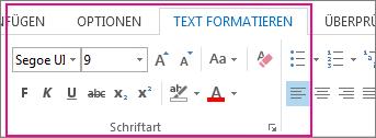 Menüband 'Text formatieren'