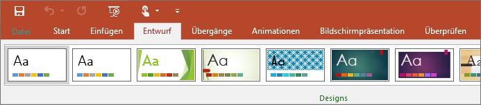 "Zeigt die Registerkarte ""Entwurf"" im PowerPoint-Menüband"