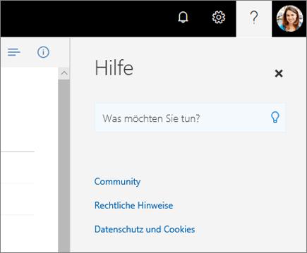 """Screenshot des OneDrive-Bereichs """"Hilfe"""""""