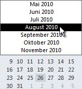 Datumsnavigator mit Monatsauswahl