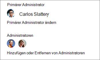 Ändern des primären Administrators hinzufügen oder Entfernen von anderen Administratoren im Detailbereich