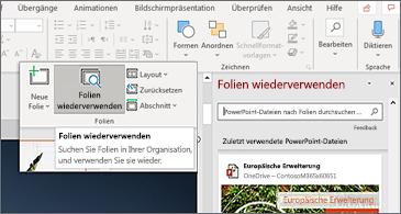 """Schaltfläche """"Folien wieder verwenden"""" und Bereich in PowerPoint geöffnet"""