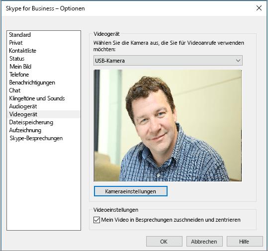 "Screenshot der Seite ""Videogeräte"" im Skype for Business-Dialogfeld ""Optionen"""