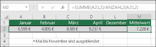 Verwenden von SUMME mit anderen Funktionen  Die Formel in Zelle M2 lautet =SUMME(A2:L2)/ANZAHL2(A2:L2).  Hinweis: Die Spalten Mai – November wurden aus Gründen der Übersichtlichkeit ausgeblendet.