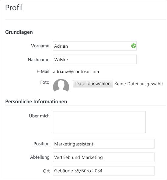 Screenshot zur Bearbeitung des Profils eines Yammer-Benutzers