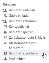 """Yammer-Menü """"Benutzer exportieren"""""""