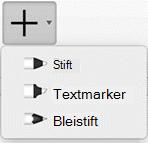 Abonnenten von Office 365 können mit drei unterschiedlichen Texturen Freihand zeichnen: mit einem Bleistift, einem Stift oder einem Textmarker