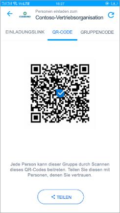 """Screenshot der Seite """"QR-Code"""" in Kaizala"""