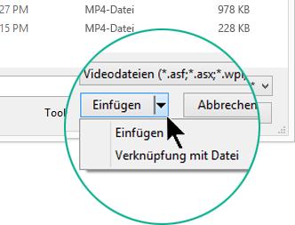 """Wählen Sie im Dialogfeld """"Video einfügen"""" zwischen """"Einfügen"""" (d. h. """"Einbetten"""") oder """"Mit Datei verknüpfen"""" aus."""