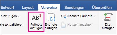 """Auf der Registerkarte """"Verweise"""" ist die Schaltfläche """"Fußnote"""" hervorgehoben"""