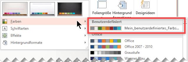 """Nachdem Sie ein benutzerdefiniertes Farbschema definiert haben, wird es im Dropdownmenü """"Farben"""" angezeigt."""