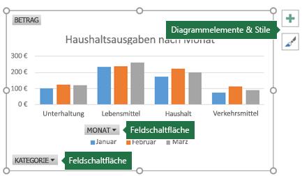 """PivotChart mit Beschriftungen, die auf """"Feldschaltflächen"""" und """"Diagrammtools"""" zeigen"""