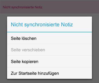 """Menü """"Notiz"""" in OneNote für Android"""