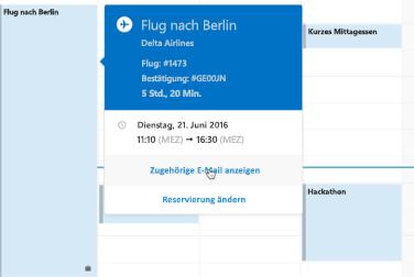 Abbildung einer Reisekarte im Outlook-Kalender