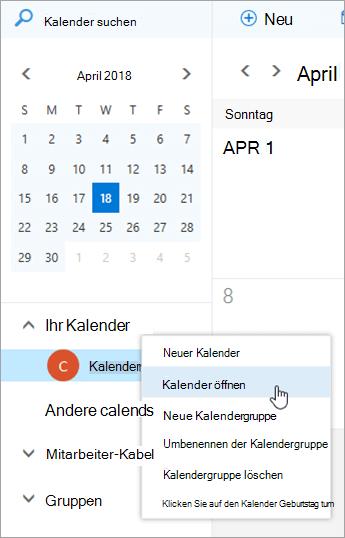 Öffnen Sie einen Internetkalender