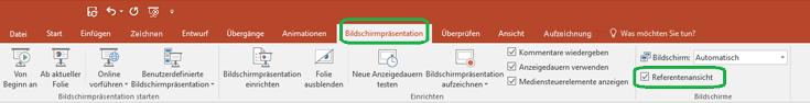 """Die Option """"Referentenansicht"""" wird über ein Kontrollkästchen auf der Registerkarte """"Bildschirmpräsentation"""" im Menüband von PowerPoint gesteuert."""
