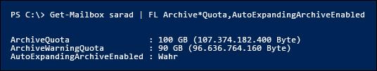 """Wenn Sie die automatisch erweiterte Archivierung aktivieren, werden die Eigenschaften """"ArchiveQuota"""" und """"ArchiveWarningQuota"""" ignoriert."""