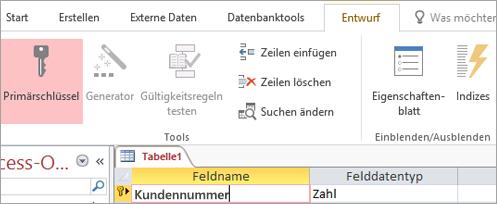 Auswählen eines Primärschlüsselfelds in einer neuen Access-Tabelle