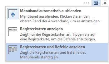 """Klicken Sie auf """"Registerkarten und Befehle anzeigen""""."""
