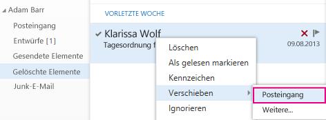 """Menüpfad zum Wiederherstellen eines Elements aus dem Ordner """"Gelöschte Elemente"""" in Outlook Online"""