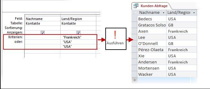 Verwenden von Kriterien des Typs ODER im Entwurfsbereich und Ergebnis