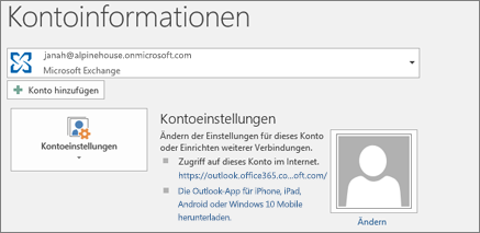 "Screenshot der Outlook-Seite ""Kontoinformationen"" in der Backstage-Ansicht"