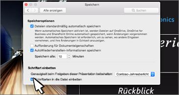"""Dialogfeld """"Speichern"""" mit Optionen zum Einbetten von Schriftarten"""