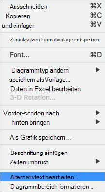 ALT-Text-Option in einem Kontextmenü für das Hinzufügen von Alt-Text zu einem Diagramm