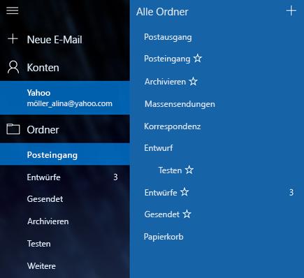 E-Mail und Kalender – Neuen Ordner erstellen
