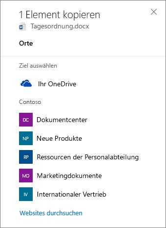 """Screenshot von """"Ziel auswählen"""" beim Kopieren von Dateien von OneDrive for Business auf eine SharePoint-Website"""