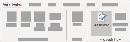 Wählen Sie auf der Registerkarte Prozess im Menüband vorbereiten aus, um den Export auszuführen.