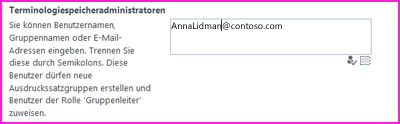 """Screenshot des Textfelds """"Terminologiespeicheradministratoren"""" im SharePoint Admin Center. In dieses Feld können Sie den Namen der Person eingeben, die Sie als Administrator hinzufügen möchten."""