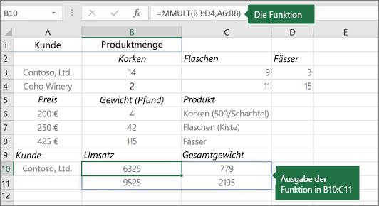MMULT-Funktion – Beispiel 2
