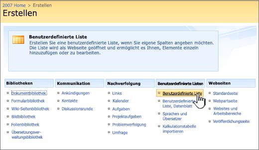 Wählen Sie im Dialogfeld 'Erstellen' einen Typ für die benutzerdefinierte Liste aus