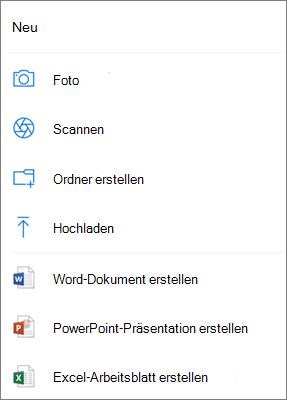 Auf OneDrive hochladen