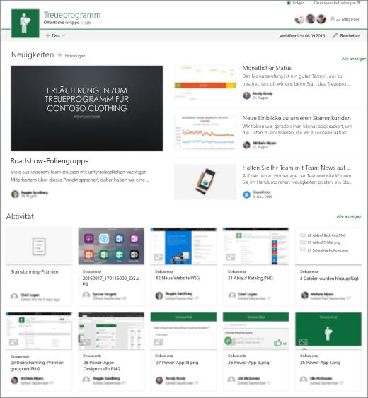 SharePoint-Teamwebsite mit Teamneuigkeiten