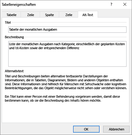 "Screenshot der Registerkarte ""Alternativtext"" im Dialogfeld ""Tabelleneigenschaften"""