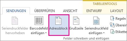 Schaltfläche 'Adressblock'