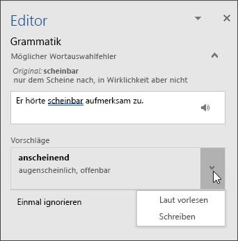 """Aufgabenbereich """"Editor"""" für Grammatik"""
