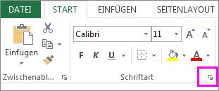 Schaltfläche des Startprogramms für das Dialogfeld 'Schriftart'