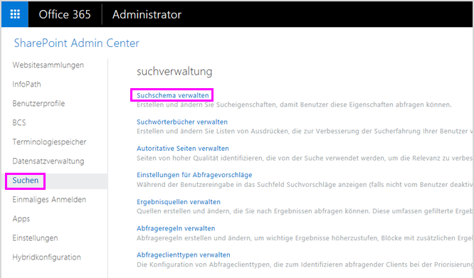"""Seite """"Suchverwaltung"""" im SharePoint Admin Center"""