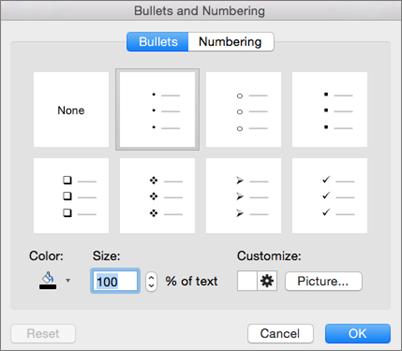"""Office für Mac-Dialogfeld """"Aufzählungszeichen und Nummerierung"""""""