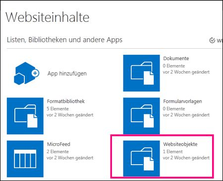 """Seite """"Websiteinhalt"""" auf einer einfachen Website in SharePoint Online mit hervorgehobener Kachel """"Websiteobjekte"""""""
