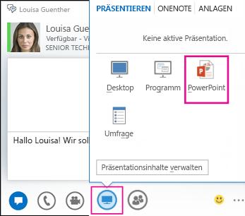 Screenshot zum Hinzufügen von PowerPoint zu einem Chat