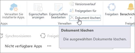 """Im Menüband """"Dateien"""" hervorgehobene Schaltfläche """"Dokument löschen"""""""
