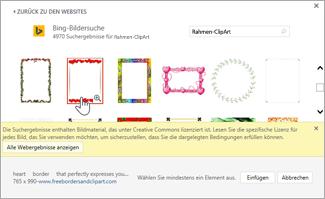 Auswählen der gewünschten Rahmen-ClipArt