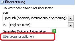 Übersetzungsoptionen