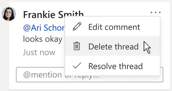 """Abbildung eines Kommentars mit der Option """"Thread löschen"""" im Menü """"Weitere Thread Aktionen"""" auf der Kommentarkarte"""